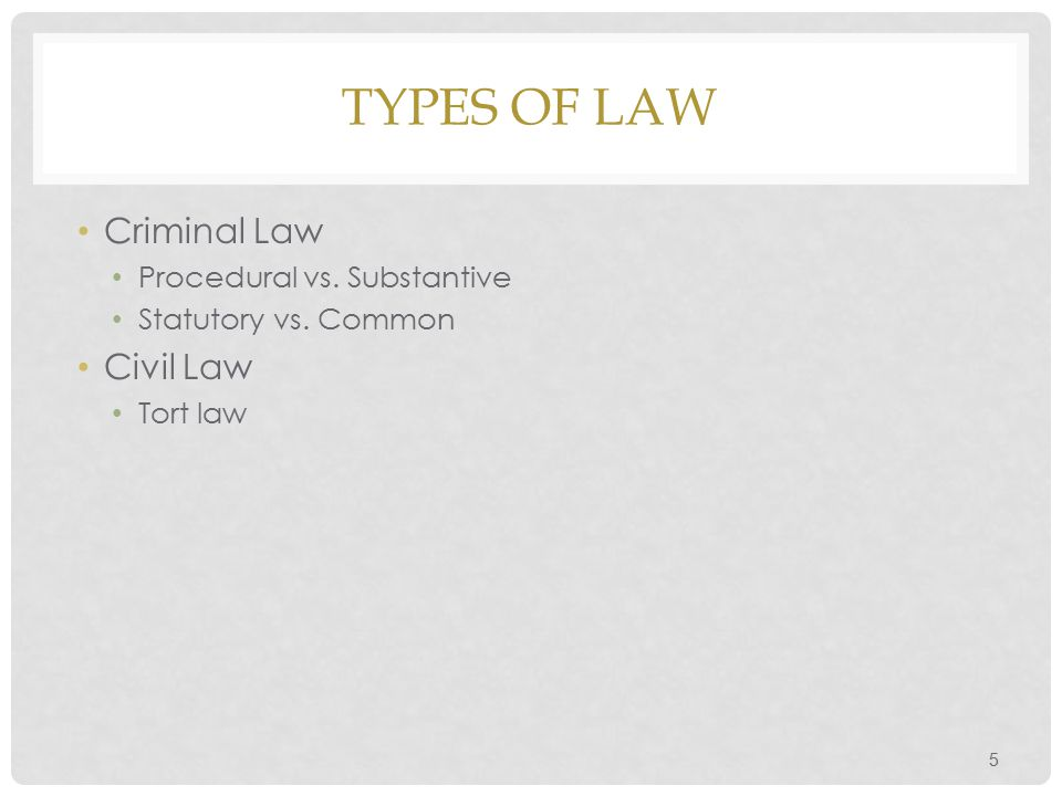 Types of Law Criminal Law Civil Law Procedural vs. Substantive