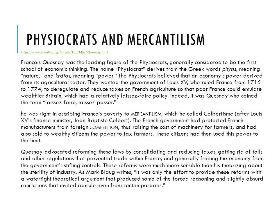Physiocrats and Mercantilism