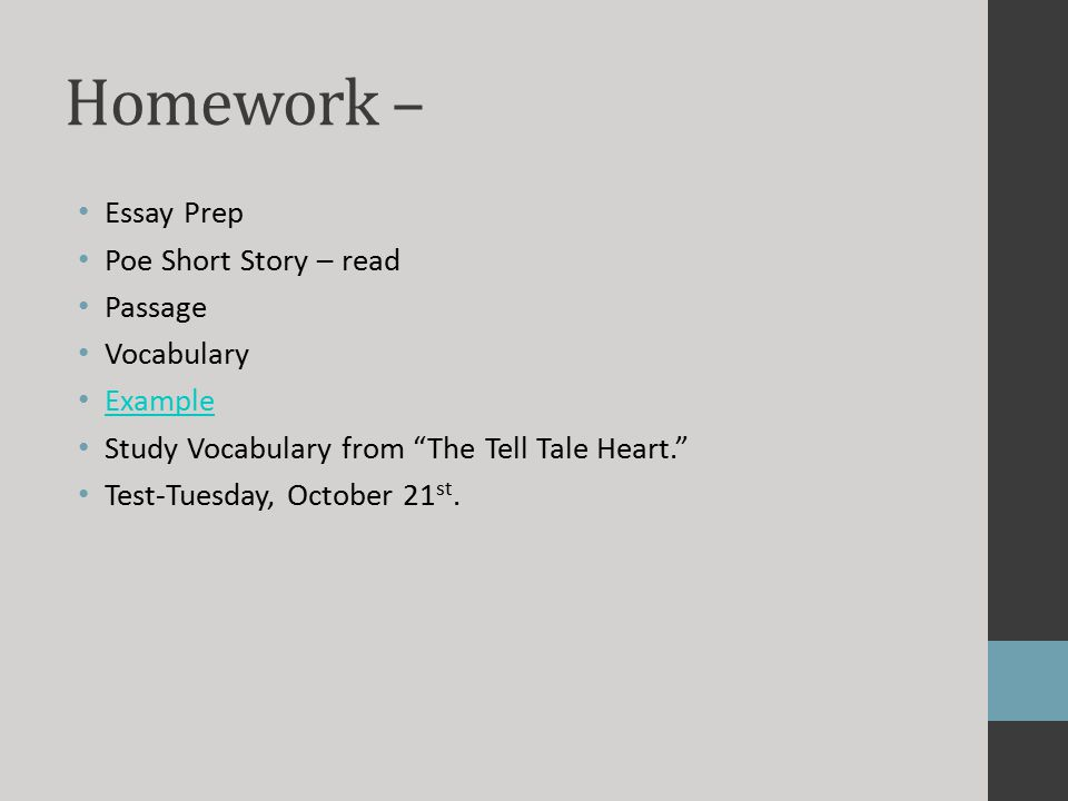 the tell tale heart edgar allan poe ppt video online homework essay prep poe short story passage vocabulary