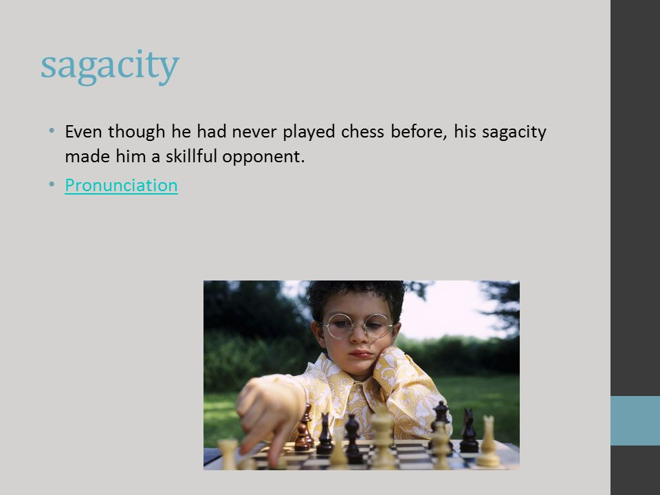 sagacity Even though he had never played chess before, his sagacity made him a skillful opponent.