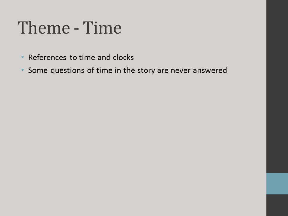 Theme - Time References to time and clocks