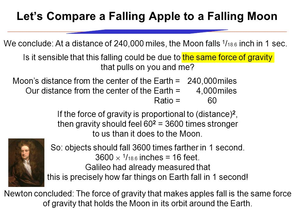 Let's Compare a Falling Apple to a Falling Moon