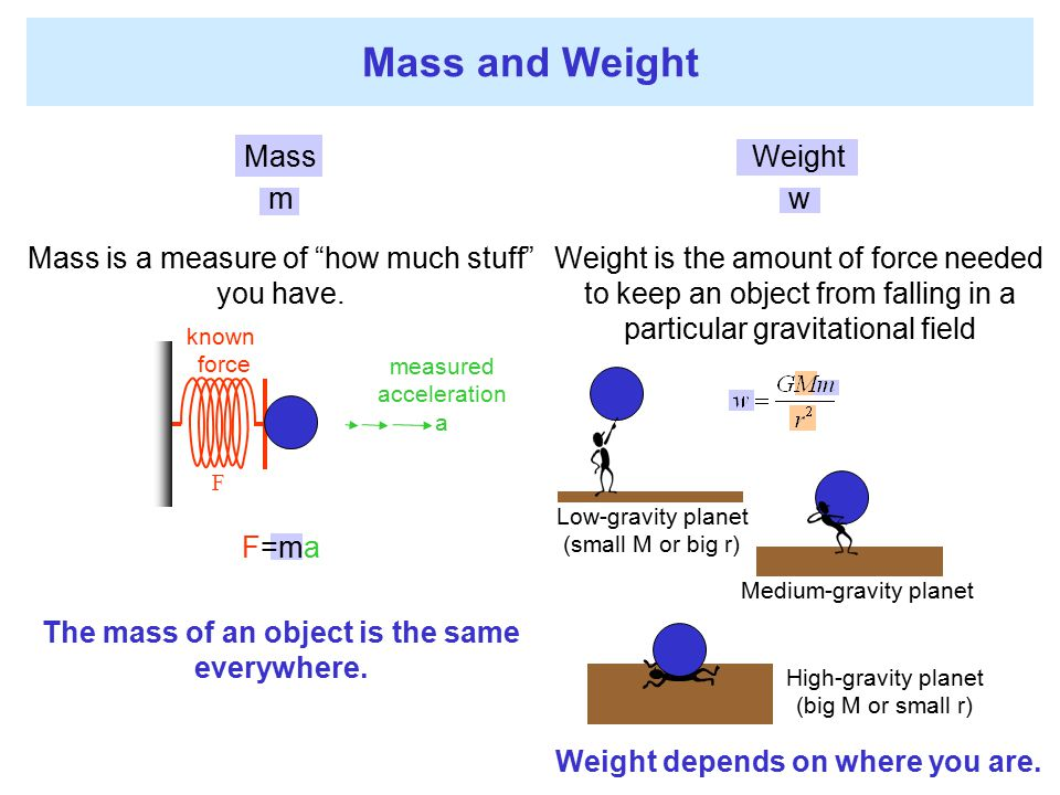 Mass and Weight Mass m Mass is a measure of how much stuff you have.