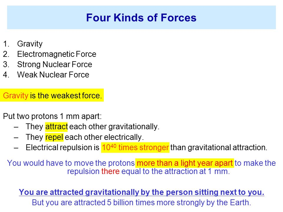 You are attracted gravitationally by the person sitting next to you.