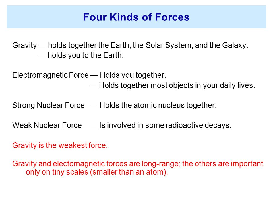 Four Kinds of Forces Gravity — holds together the Earth, the Solar System, and the Galaxy. — holds you to the Earth.