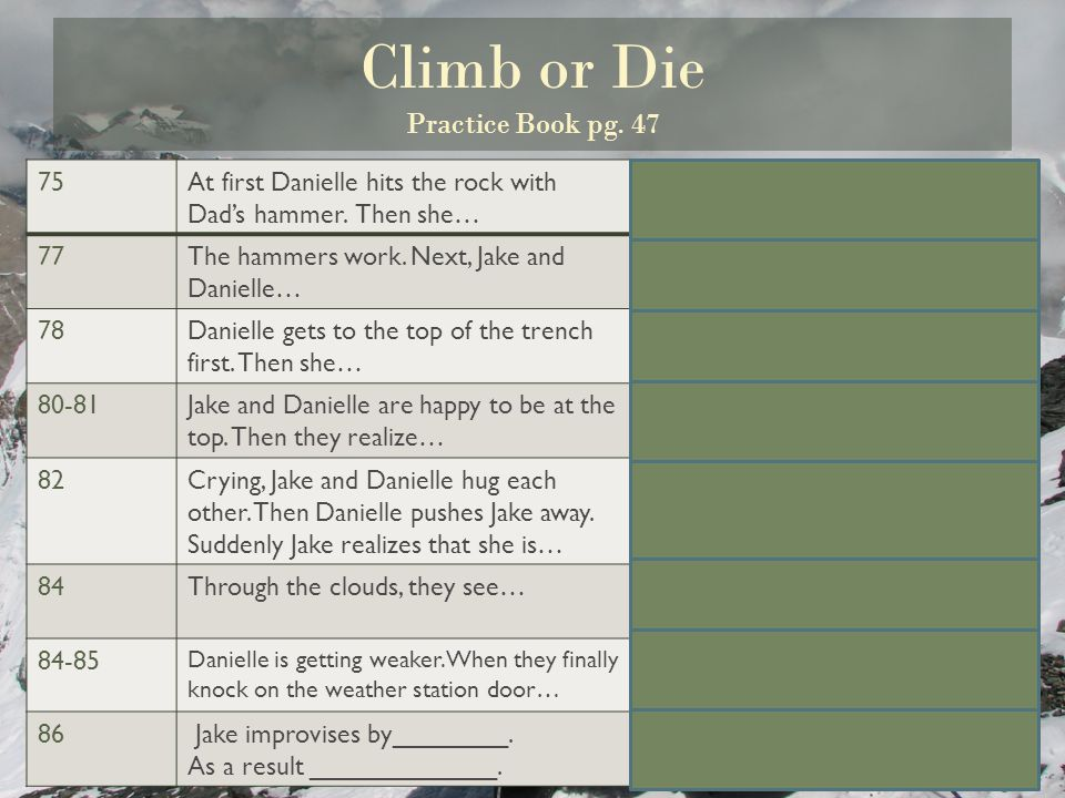 Climb or Die Practice Book pg. 47