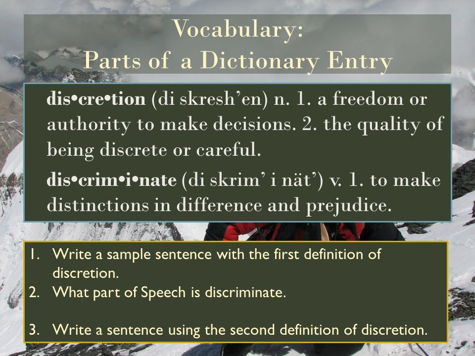 Vocabulary: Parts of a Dictionary Entry