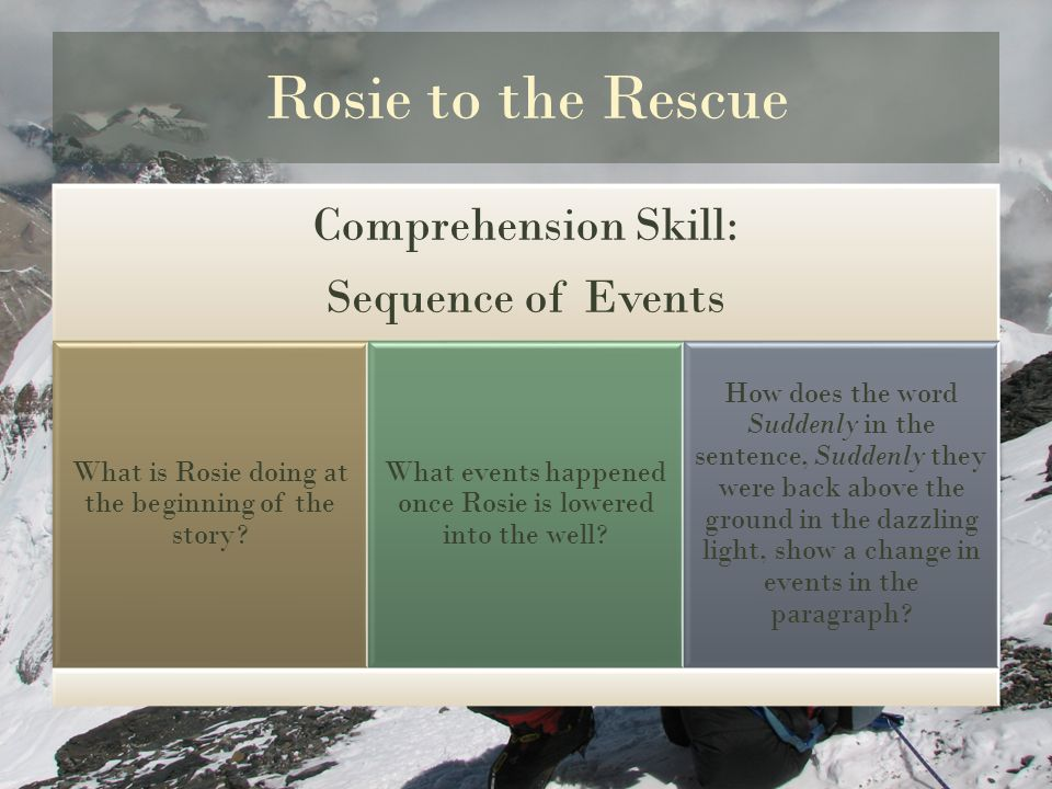 Rosie to the Rescue Comprehension Skill: Sequence of Events