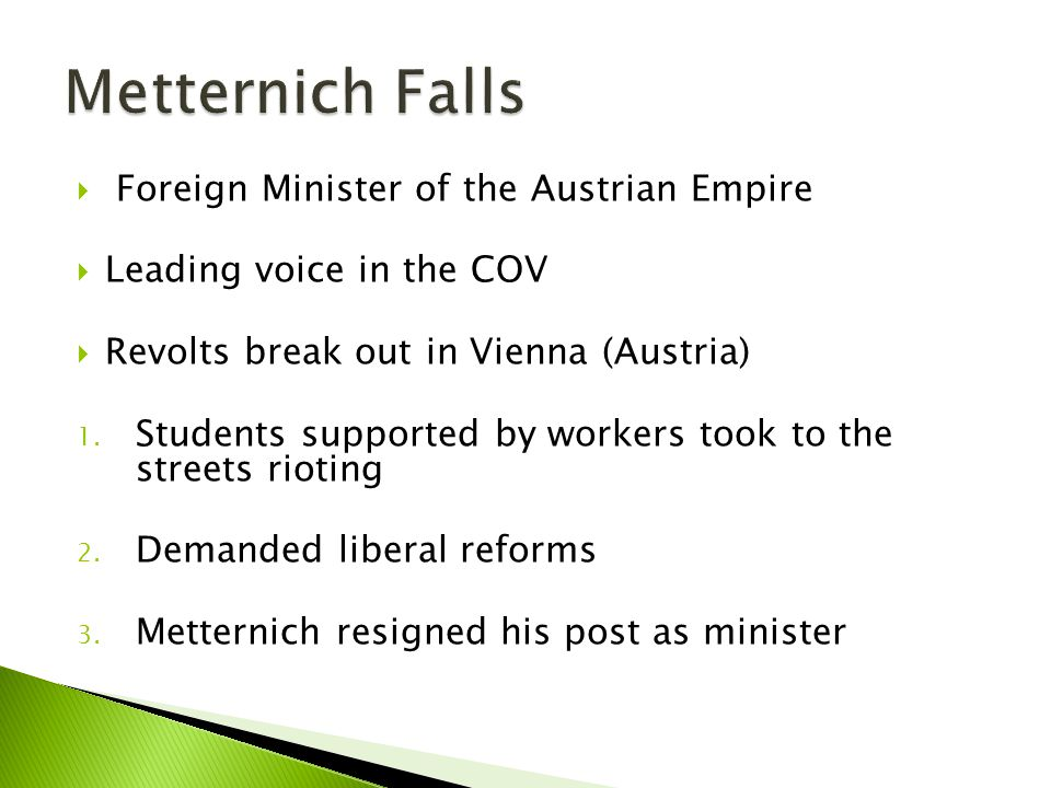 Metternich Falls Foreign Minister of the Austrian Empire