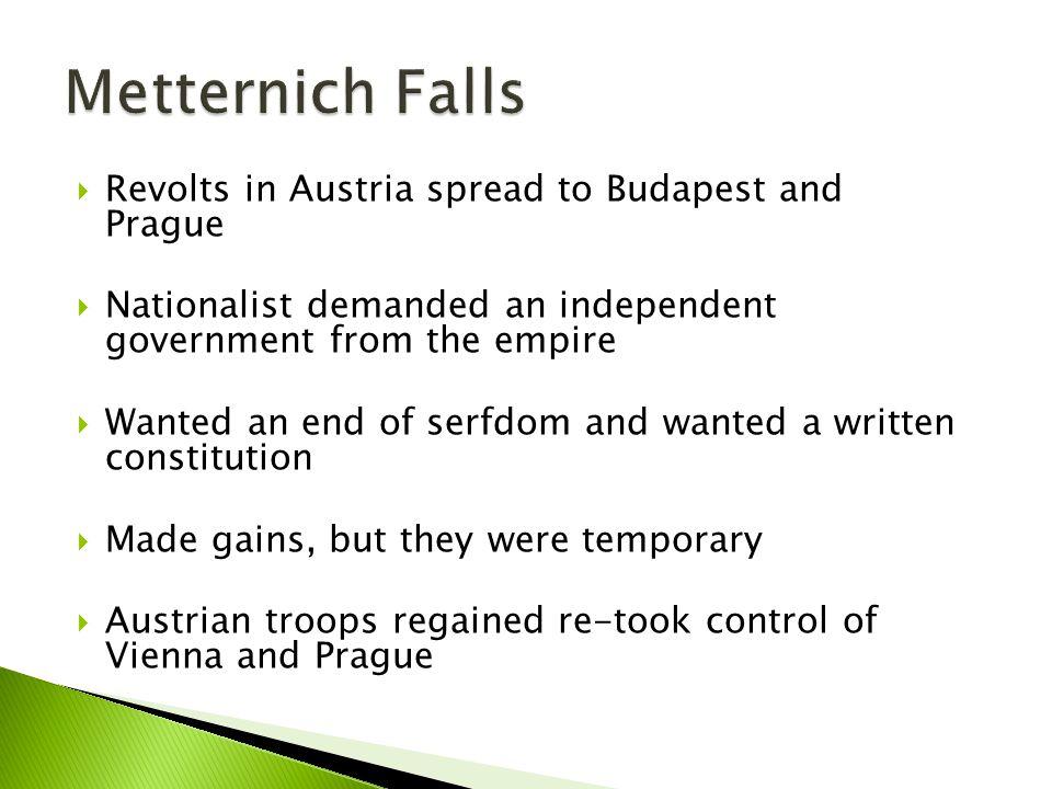 Metternich Falls Revolts in Austria spread to Budapest and Prague