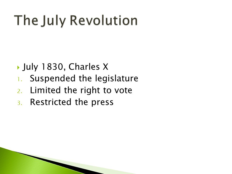 The July Revolution July 1830, Charles X Suspended the legislature