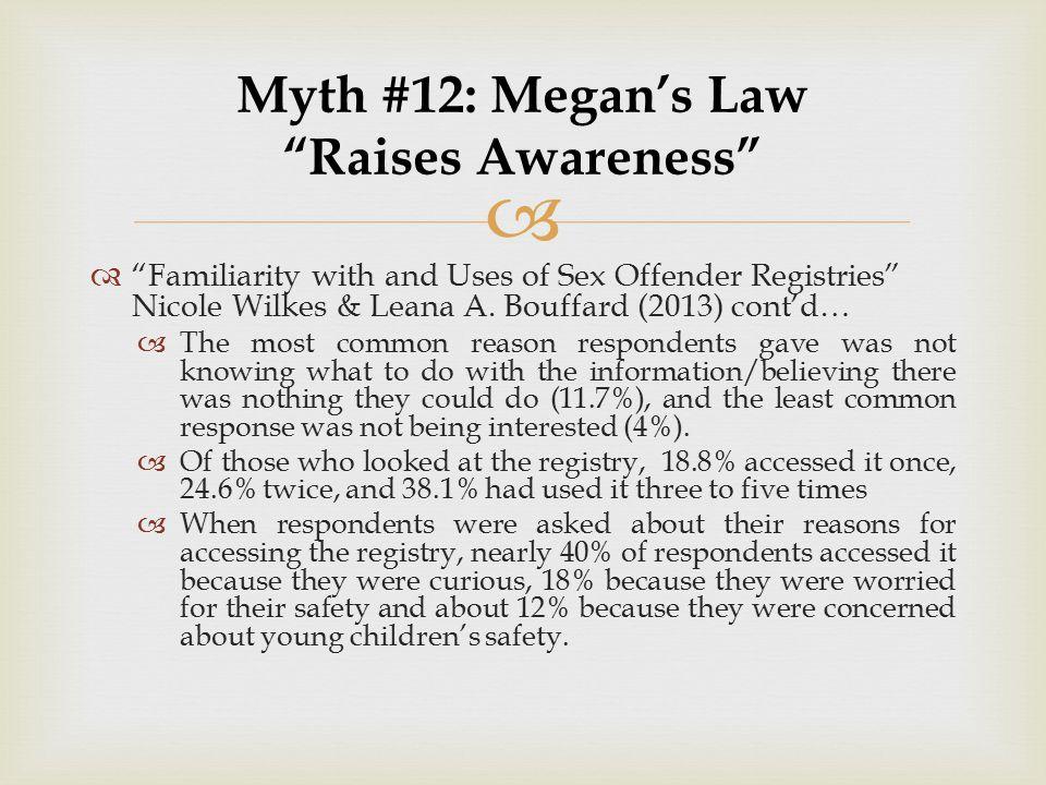 Myth #12: Megan's Law Raises Awareness
