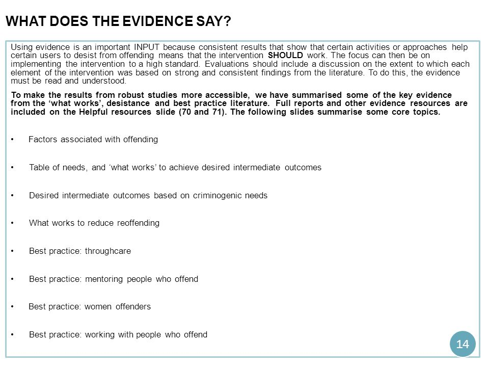 what does the evidence say