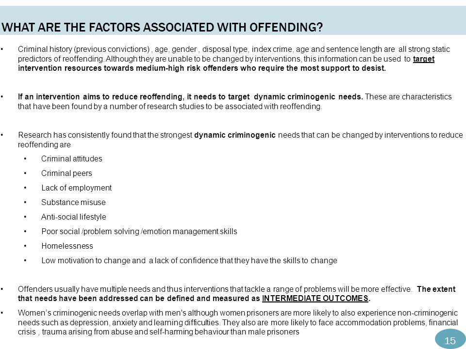 What are the Factors associated with offending