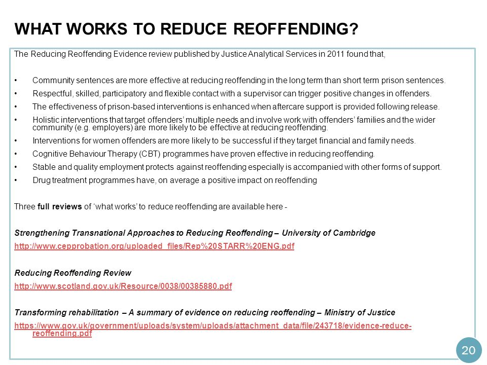 What works to reduce reoffending