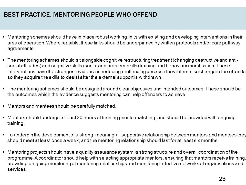 Best practice: mentoring people who offend