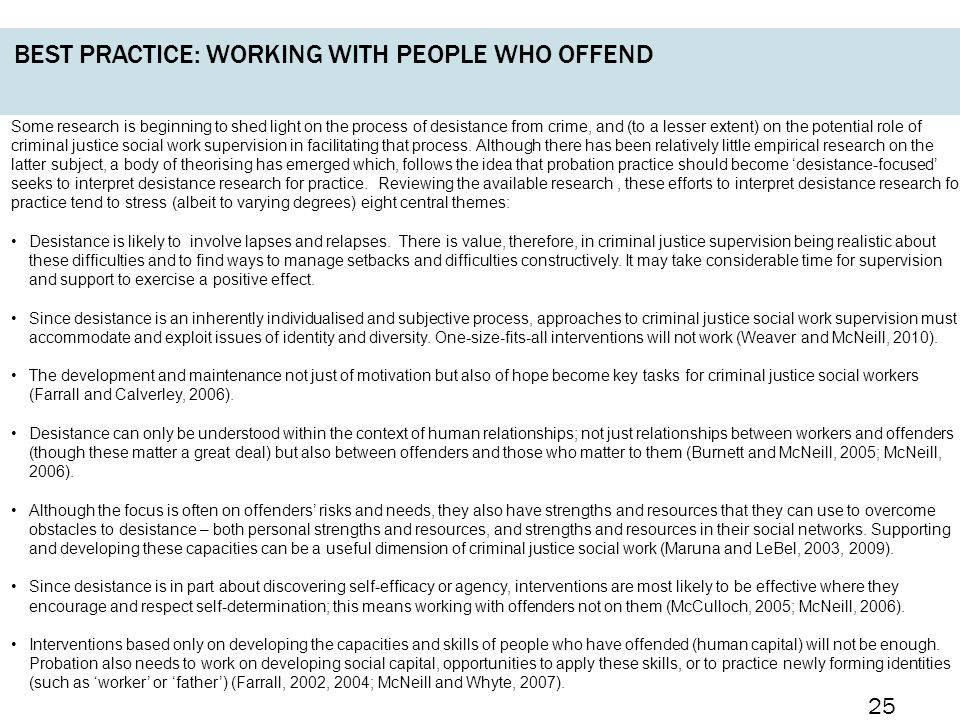 Best practice: working with people who offend