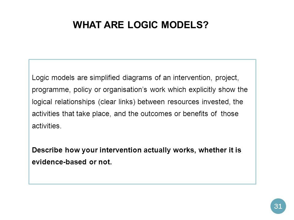 What are logic models