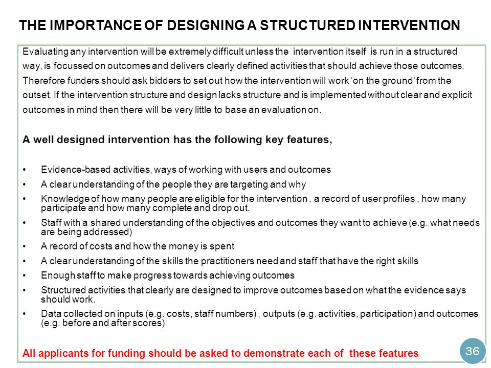 the importance of designing a structured intervention