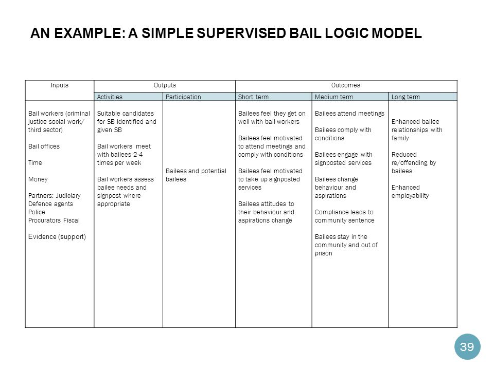 An Example: a simple Supervised Bail Logic Model