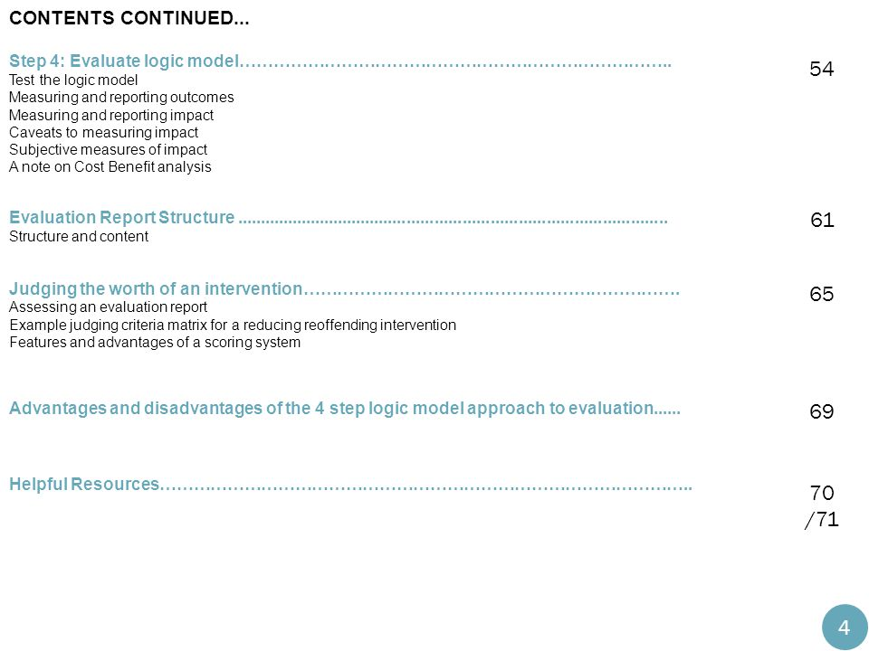 Contents continued... Step 4: Evaluate logic model………………………………………………………………….. Test the logic model.