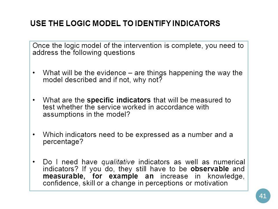 Use the logic model to Identify indicators