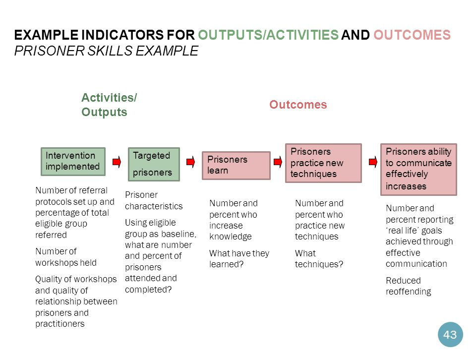 example indicators for Outputs/activities and Outcomes prisoner skills example