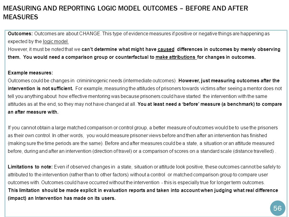 Measuring and reporting logic model Outcomes – before and after measures