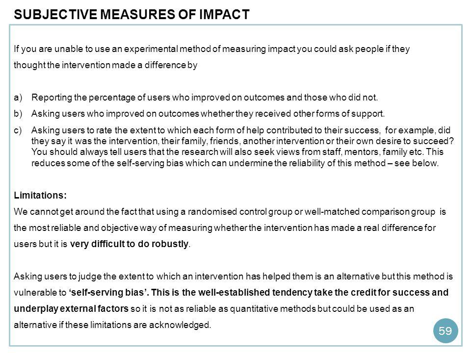 SUBJECTIVE MEASURES OF IMPACT