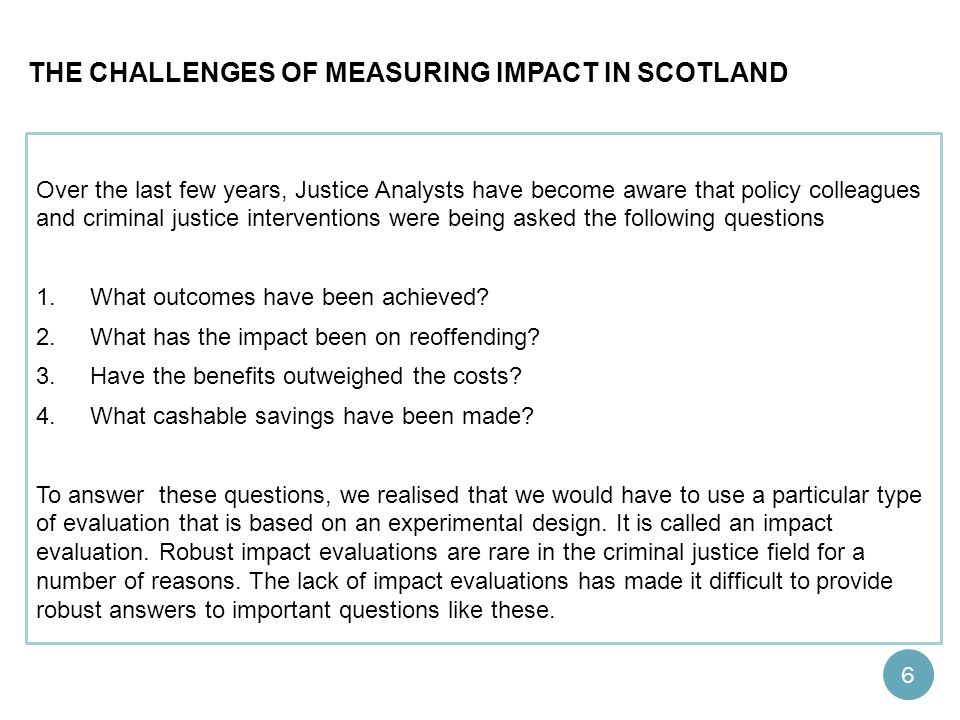 The challenges of measuring impact in Scotland