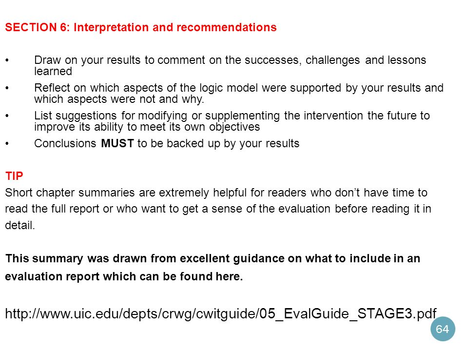 SECTION 6: Interpretation and recommendations