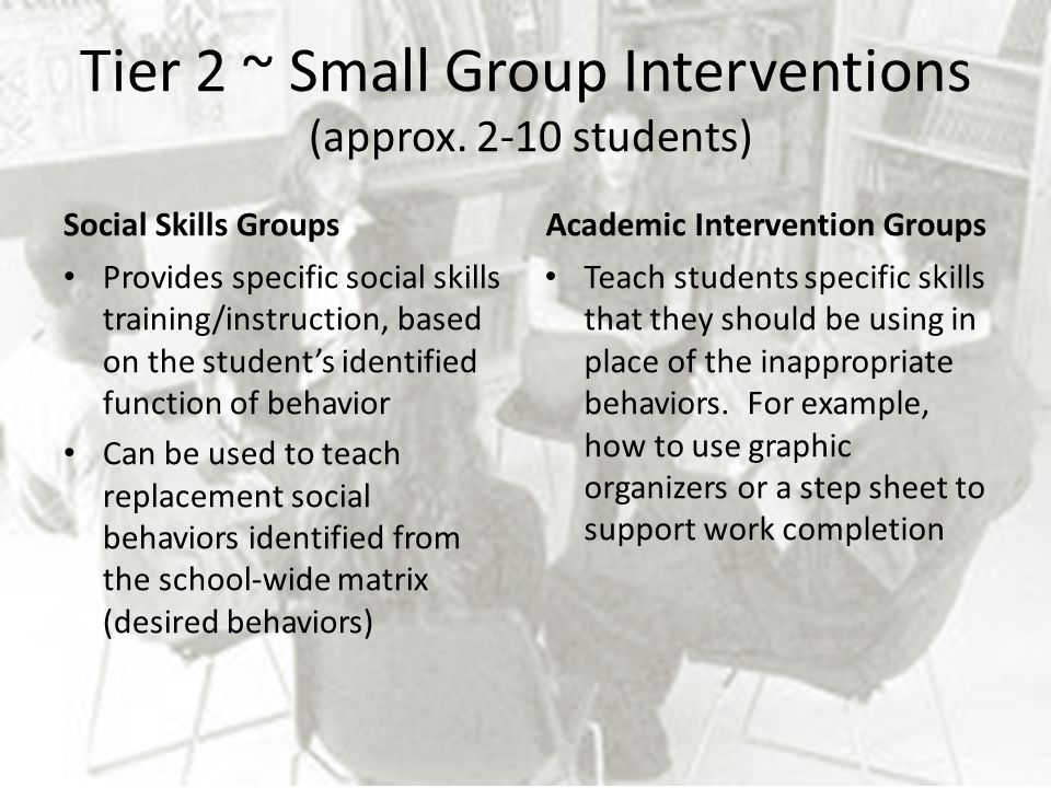 Tier 2 ~ Small Group Interventions (approx. 2-10 students)