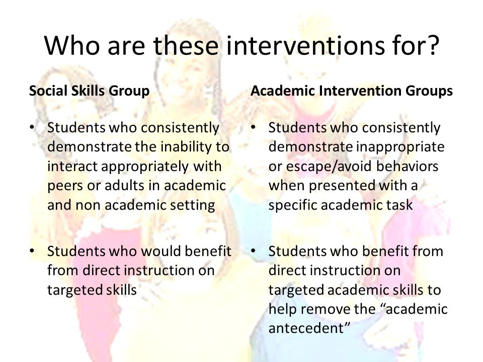Who are these interventions for
