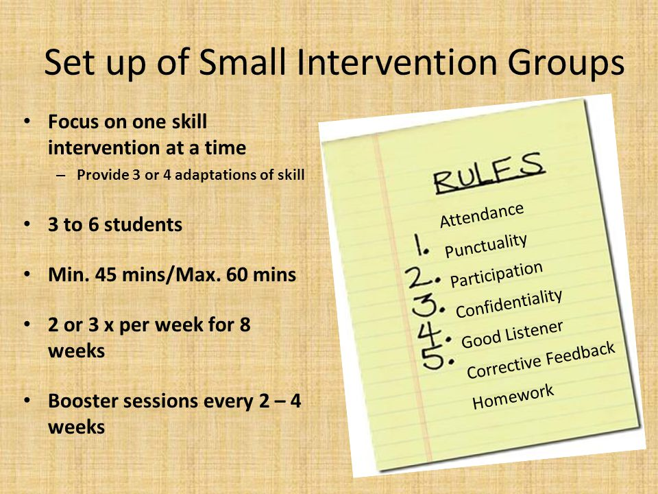 Set up of Small Intervention Groups