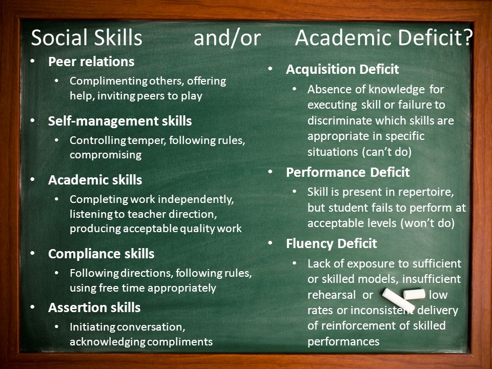 Social Skills and/or Academic Deficit