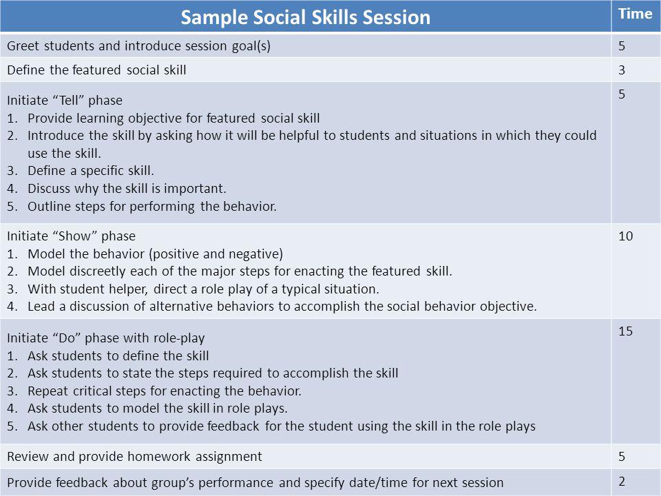 Sample Social Skills Session