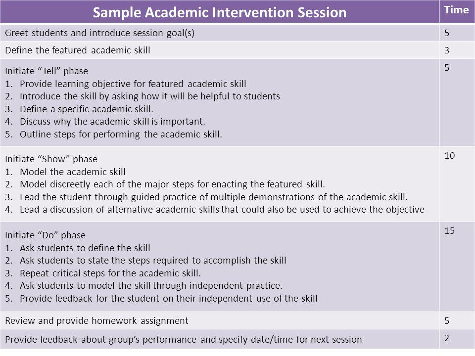 Sample Academic Intervention Session
