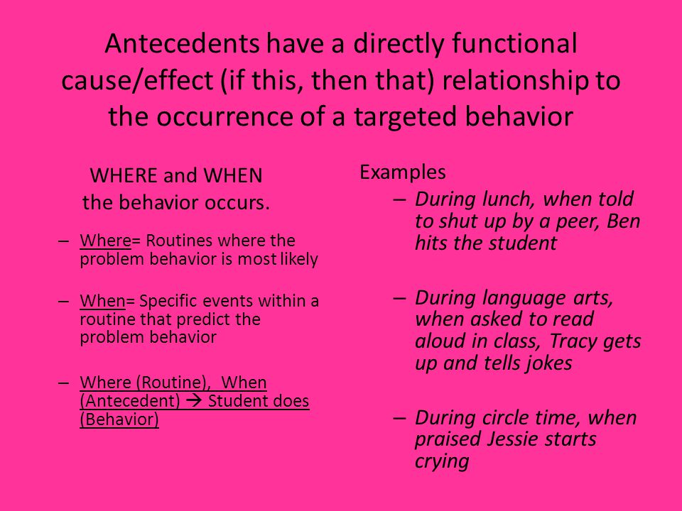 Antecedents have a directly functional cause/effect (if this, then that) relationship to the occurrence of a targeted behavior
