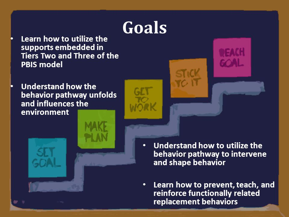 Goals Learn how to utilize the supports embedded in Tiers Two and Three of the PBIS model.