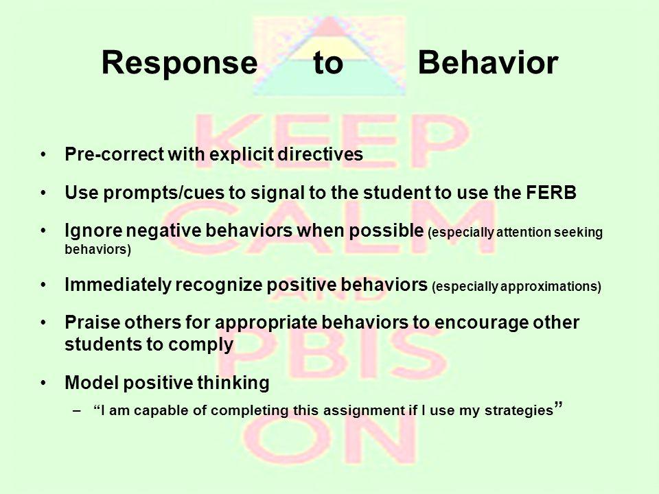 Response to Behavior Pre-correct with explicit directives