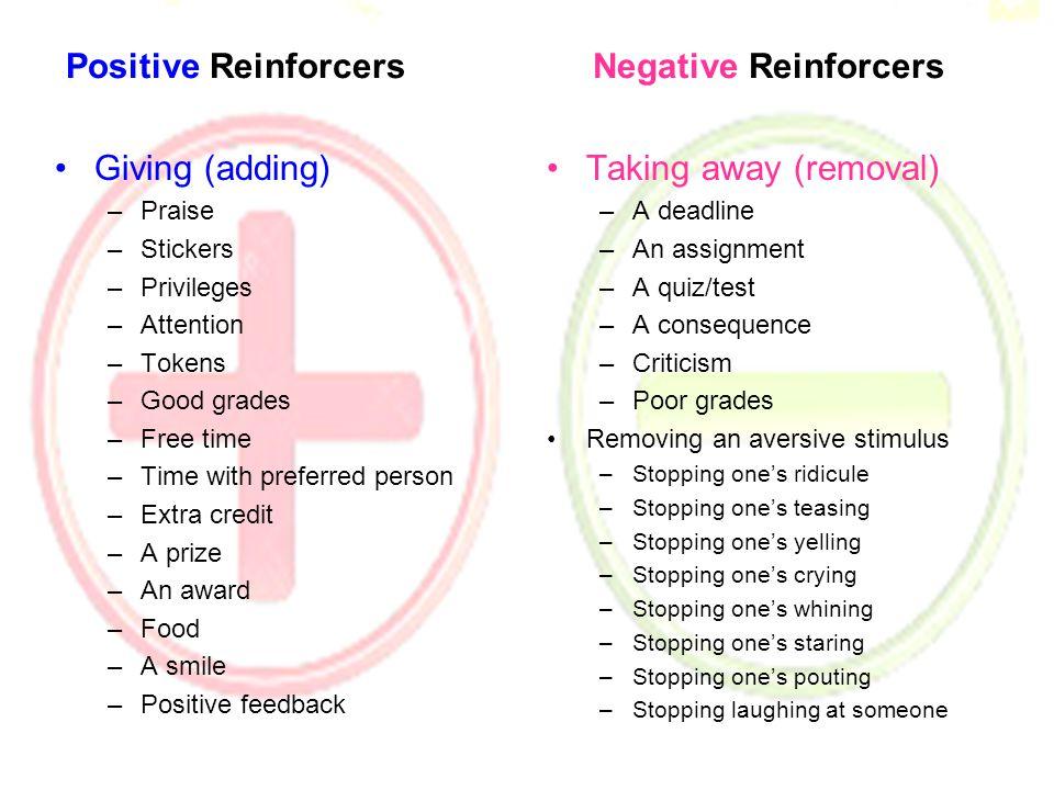 Positive Reinforcers Negative Reinforcers
