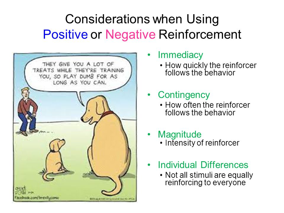 Considerations when Using Positive or Negative Reinforcement