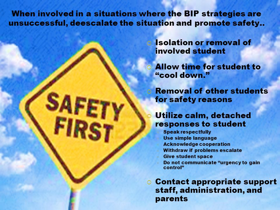 Isolation or removal of involved student