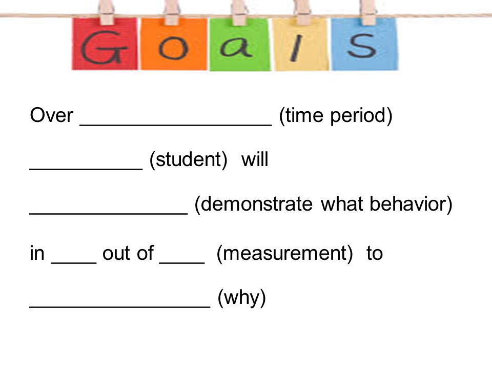 Over _________________ (time period) __________ (student) will ______________ (demonstrate what behavior)