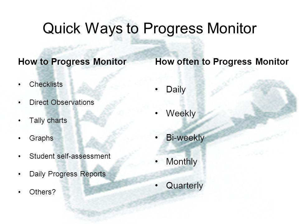 Quick Ways to Progress Monitor
