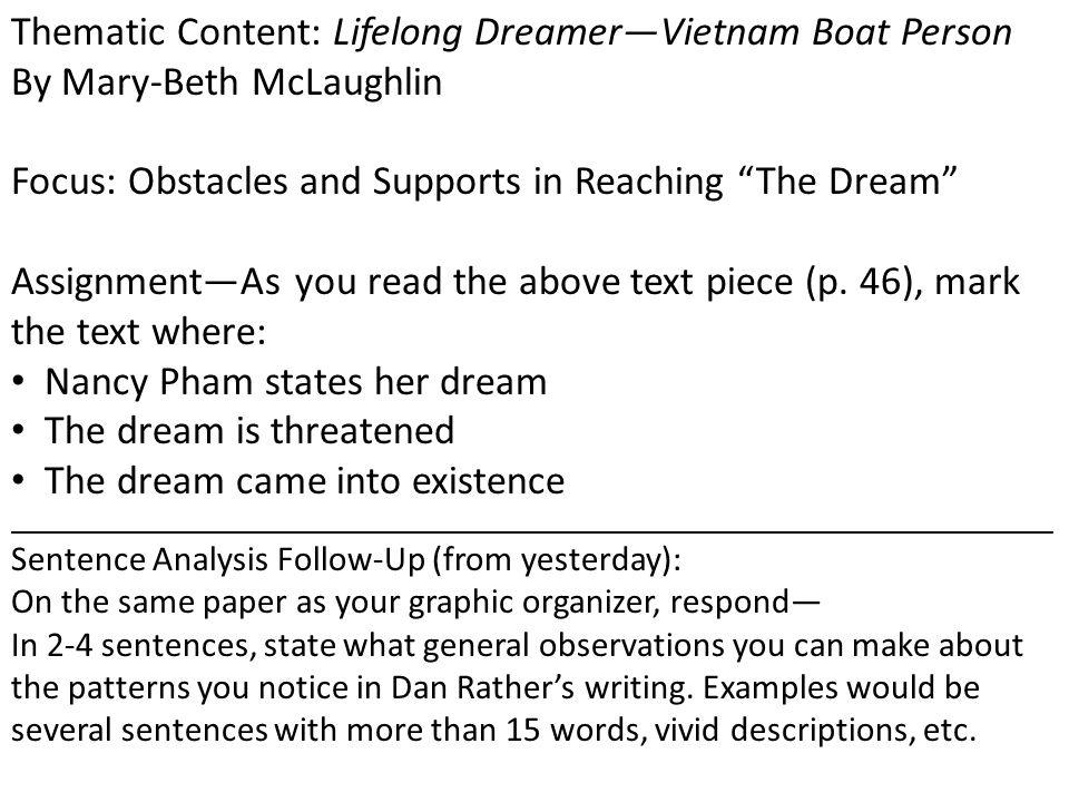 Thematic Content: Lifelong Dreamer—Vietnam Boat Person