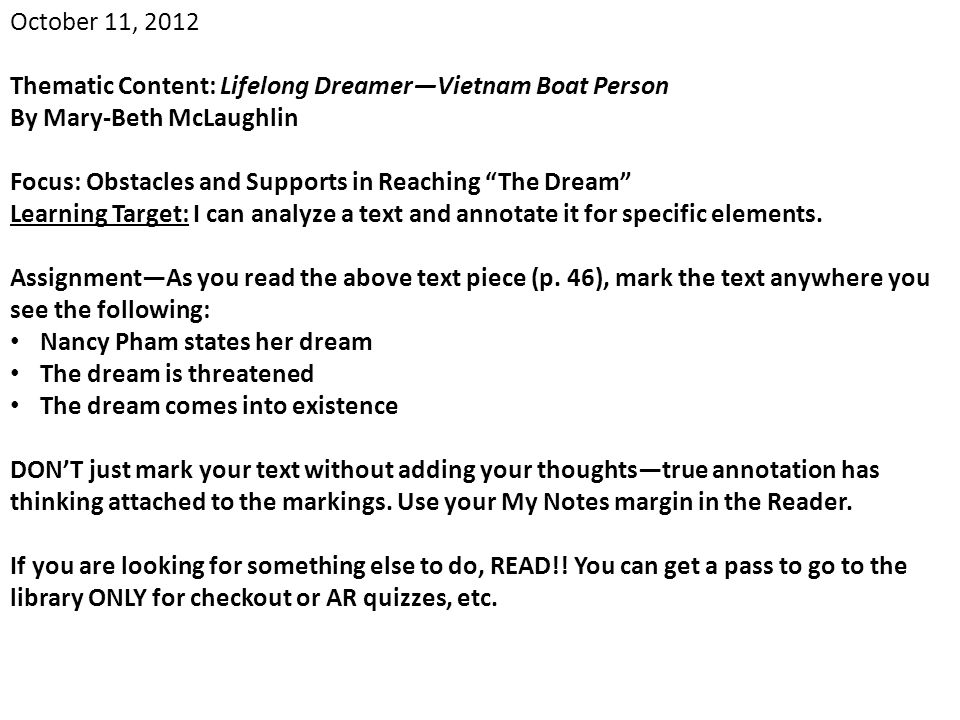 October 11, 2012 Thematic Content: Lifelong Dreamer—Vietnam Boat Person. By Mary-Beth McLaughlin.