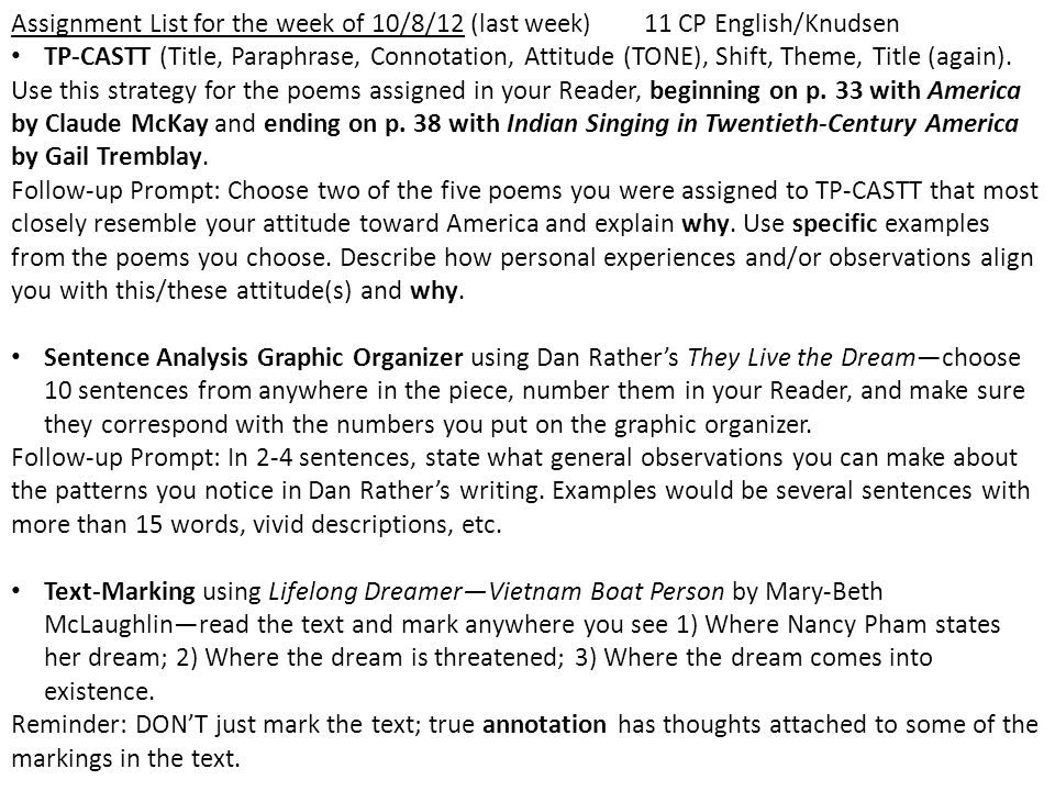 Assignment List for the week of 10/8/12 (last week)