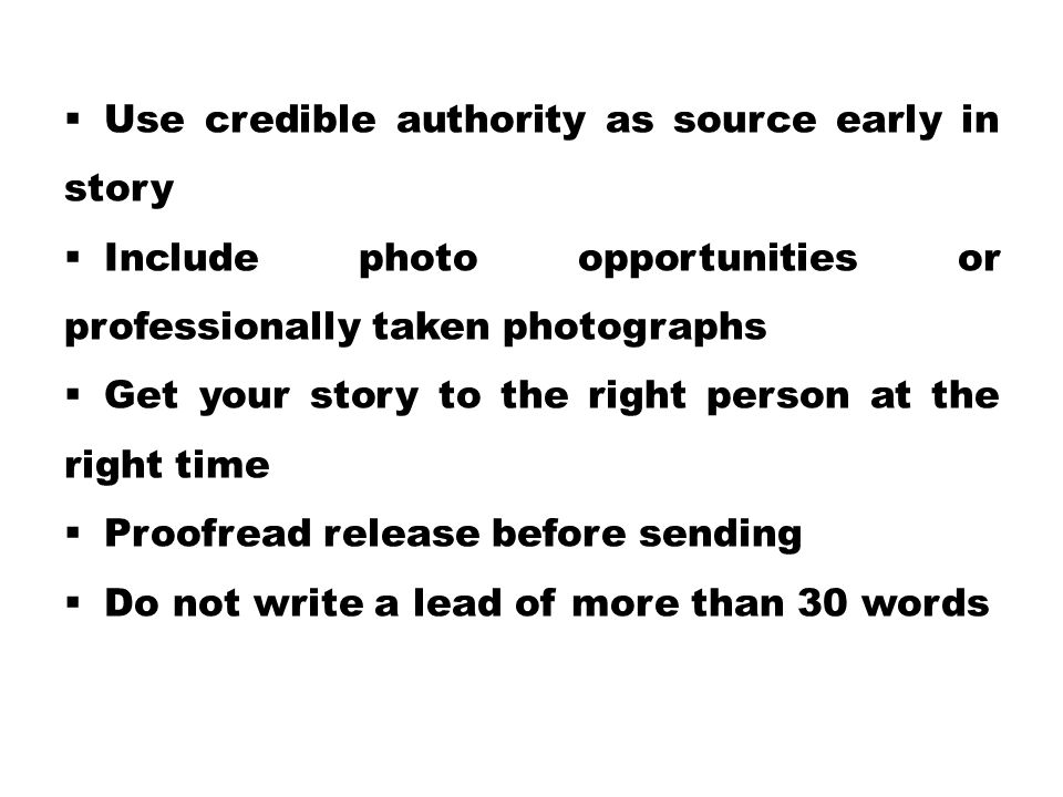 Use credible authority as source early in story