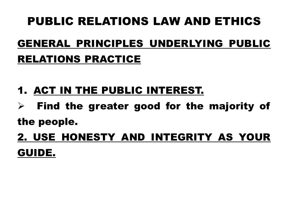 Public Relations Law and Ethics